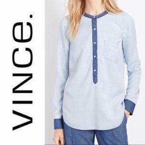 VINCE Colorblock Chambray Shirt Size Small